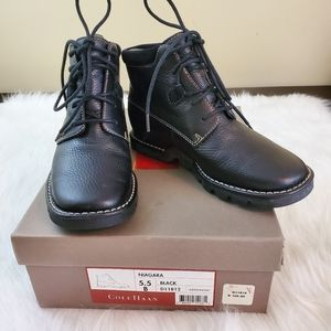 Cole Haan Niagara Sz 5.5 Black Leather Ankle Boots